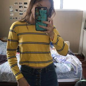 soft 100% cotton black white stripe yellow top